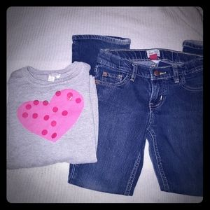 Lot of 2 Children's Place sweater & jeans size 7/8